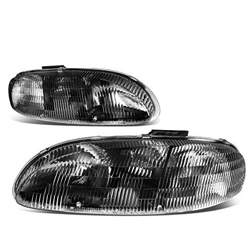 (For 95-01 Chevy Lumina/Monte Carlo Black Housing Clear Lens Headlight/Lamps - Pair)