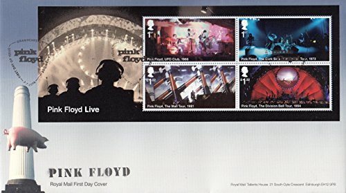 Pink Floyd UFO Club, Dark Side of the Moon, The Wall, Division Bell Tours Collectible First Day Cover Postage Stamps Royal Mail