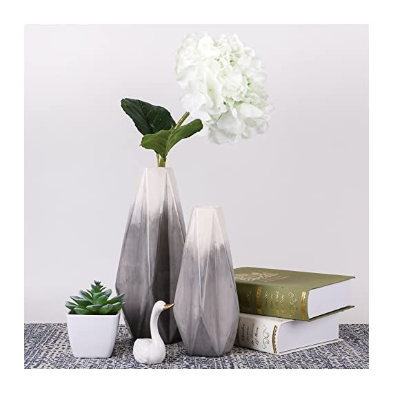 TERESA'S COLLECTIONS Ceramic Flower Vase, Modern Home Decor, Set of 2 Grey and White Geometric Decorative Vases for Table, Living Room, Kitchen, Centerpieces, Office, Wedding Decoration - Design: The ceramic vase set made of high quality pottery by handmade. Set of 2 vases feature with Grey colored glaze and geometric style are not only common vases for flowers, but also beautiful handicrafts USE: Filled with artificial flowers, floral or greenery additions for a stunning display that instantly brightens up bedrooms, lounges and offices. Also an ideal gift to your family, friends or lovers who likes to decor accents around the house SIZE: Measure around 3.15*11.02*2.17 inch (large) and 2.56*8.66*1.77 inch (small) - vases, kitchen-dining-room-decor, kitchen-dining-room - 51dSbRh2NHL. SS570  -
