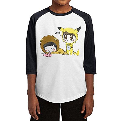 GUYT Youth Boys Dan And Phil-Pikachu Raglan 3/4 Sleeve T-Shirt Black Size XL