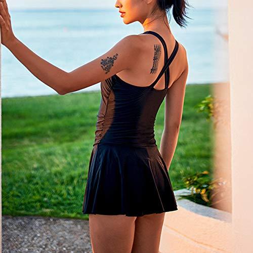 Jupe Bain Black Siamois Femme Support Girl Maillot Boxer Bikini De Steel Strip Sexy 7qx5Y