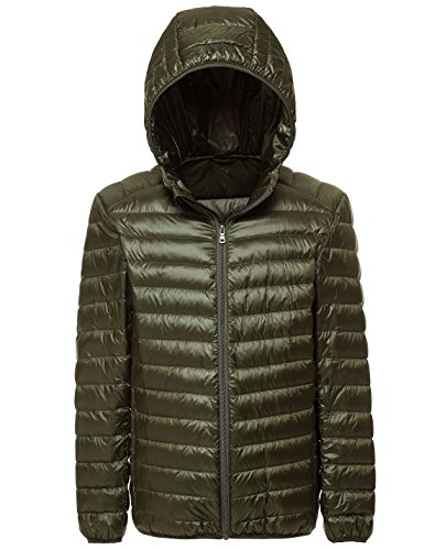 Puffer Quilted Army Down Yeokou Green Men's Packable Hooded weight Jacket Short Coat q70t7Uv