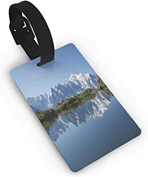 Luggage tag,Lake,Mont Blanc Mountain Range Reflected in Cheserys Lake Alps France Panorama,One Size Travel Accessories Pale Blue White Green