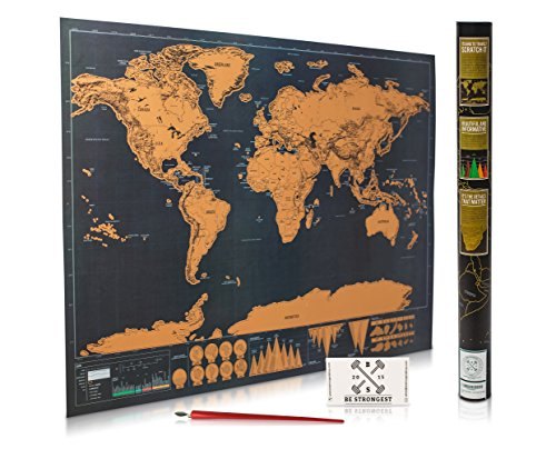 Scratch Off Map of the World for Travelers - Elegant Gold Foil on Black Travel Tracker Map of the World Poster Where You've Been - Deluxe Gift Edition Large 32