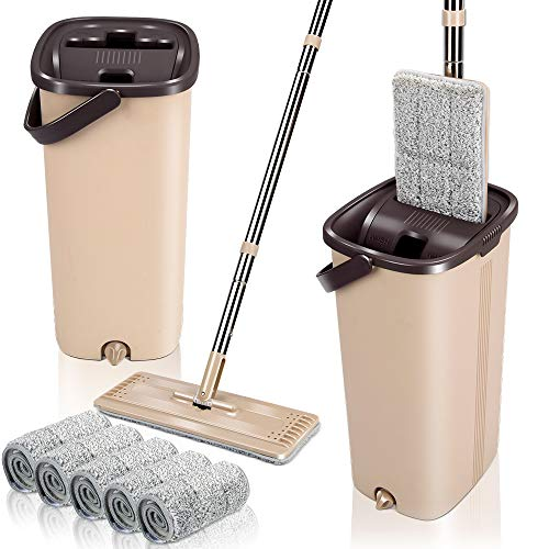 Squeeze Flat Floor Mop and Bucket Set with 6 Microfiber Mop Pads Refills Easy Self-Wringing Cleaning Mop Bucket Wet and…