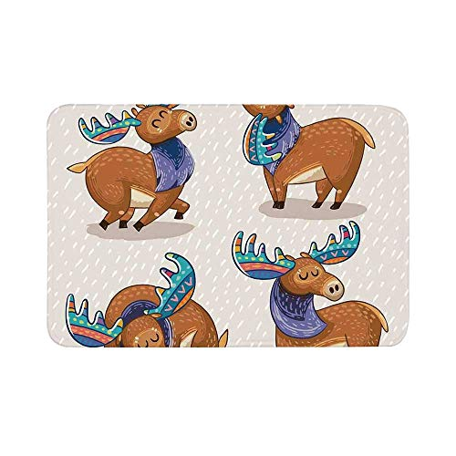 C COABALLA Moose Decor Durable Door Mat,Kids Cartoon Inspired Cute Elks with Antlers Friendly Nursery Artwork for Living Room,19.6