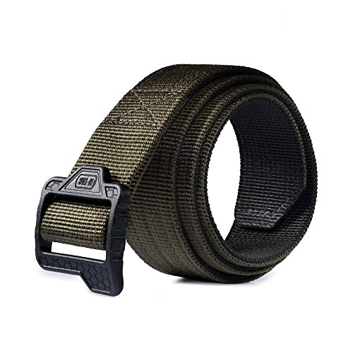 Olive Reversible Belt (Reversible Nylon Belt Double Duty Tactical Thick Military Police Mens Plastic Buckle (Black - Olive, L (38-40)))