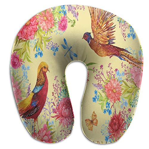 (Pamdart Fabric Birds Pheasants and Flowers Watercolor Illustration Customized U-Shaped Pillow Neck Pad Cushion Unisex for Comfort and Convenience in Travel)