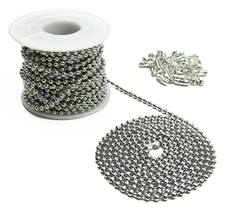 Hyamass 10 Yards 3mm Diameter Stainless Steel Beaded Pull Chain Extension Ceiling Light Fan Chain with 30 Matching Connectors, Rolled Packing
