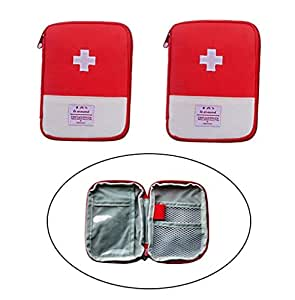 Echodo Portable Mini First Aid Pouch Emergency Medicine Storage Bag for Travel Pill Organizer Empty Bag for Outdoor Activities Camping Hiking 2 Packs