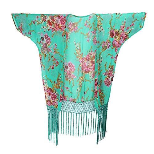 Lonior Mujeres Traje de Baño Bikini Cubrir Cover-up gasa Kimono Cárdigan Bañador Playa Vestido Swimwear Talla única Verde