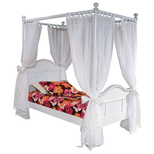 Bolton Furniture 9881500T4P Emma Four-Post Twin Bed with Tall Head Board, White