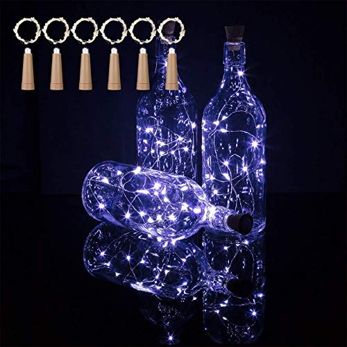 TYXSHIYE 6PCS Bottle Lights with Cork Cool White, 2M/6.5FT 20LED Fairy Lights for Bottles, Always Lighting, AAA Battery…