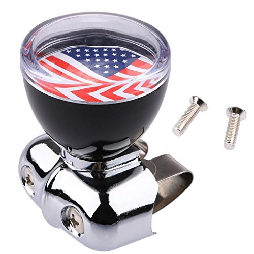 Ecosin Car Accessory Auto USA American Flag Steering Wheel Spinner Suicide Knob Handle for Car/Truck (Auto Knob)