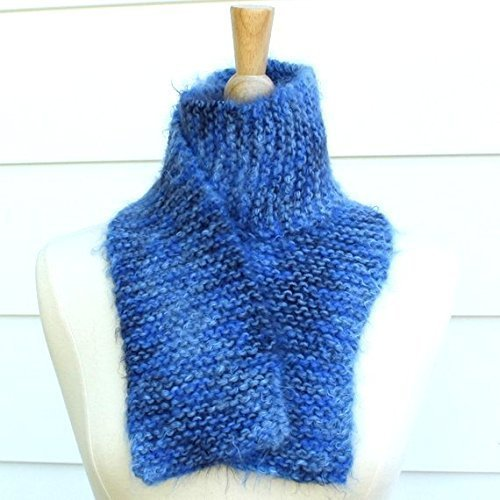 (Blueberry Blue Soft Knit Traditional Scarf)