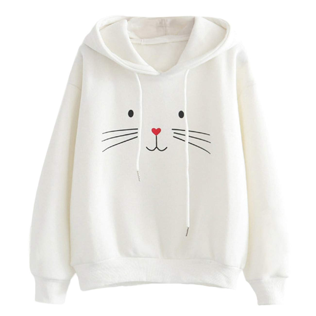AMUSTER -Inverno Autunno Donna Elegante Cerimonia Fashion Casual Manica Lunga Cat Stampa Hooded Felpa Camicetta Top T Shirt