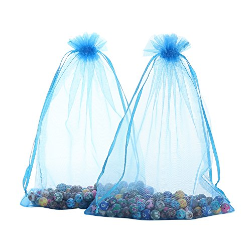 Anleolife 60PCS Sheer Large Organza Bags 6x9 Wedding Favors Baby Shower Prizes Gift Giving Bags Candle Packages Party Favors(blue 6x9'' )