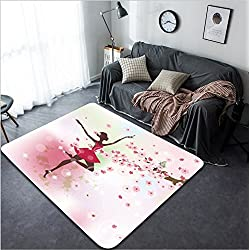 Vanfan Design Home Decorative Beautiful ballerina in the flowers Modern Non-Slip Doormats Carpet for Living Dining Room Bedroom Hallway Office Easy Clean Footcloth
