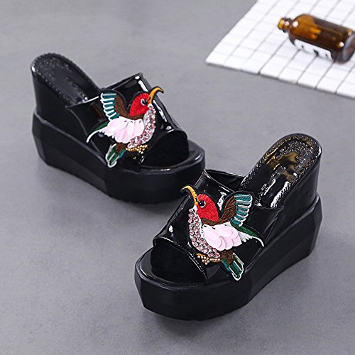 Non Breathable Sandals Bottom Sandals And Summer Small Slip Heeled Cool Code Slippers Thick Women'S Comfort 12Cm High Word Black Girl Uawgq