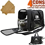 CACA Pet Carrier Collapsible Airline Approved Under Seat, Soft-sided Pet Case with Removable&Washable Plush Bedding, Pet Travel Carrier with Pouch on Trolley Case for Small Dogs&Cats