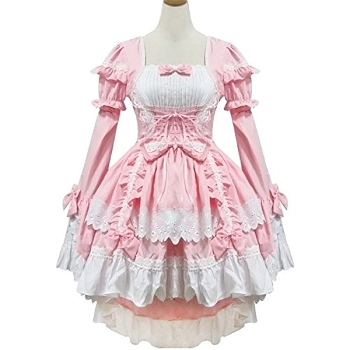 Jojobaby Sexy Japan Cosplay Lolita Maid Halloween Fancy Dress Costumes Outfit. (Pink) -