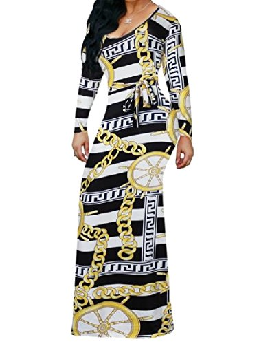 Coolred-femmes Chaîne Tunique Imprimée À Manches Longues Noir Africain Robe Longue