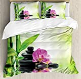 Spa Decor Duvet Cover Set by Ambesonne, Orchids and Rocks in the Mineral Rich Spring Water Spiritual Deep Treatment Cure Image, 3 Piece Bedding Set with Pillow Shams, Queen / Full, Green Black Pink