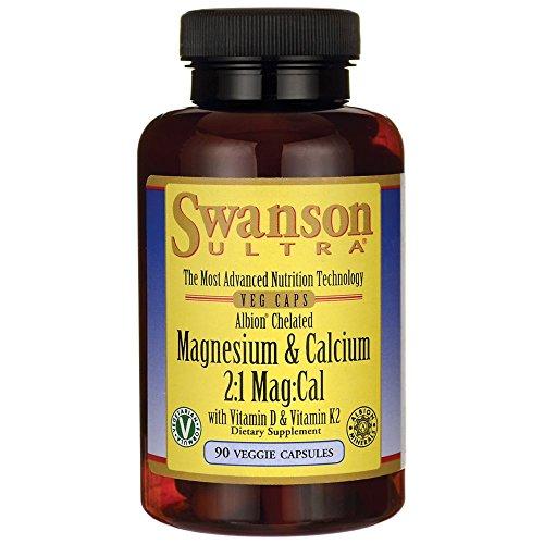 Swanson Albion Chelated Magnesium & Calcium 2:1 90 Veg Capsules