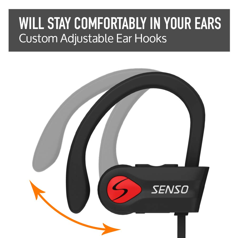 Bluetooth Headphones, Wireless Earbuds for Running, Noise Cancelling Headsets for Workout, Sports Earphones Bluetooth 5.0 with Mic, Best Beats Waterproof Cordless Sports Ear Buds for Gym Jogging by Senso (Image #4)