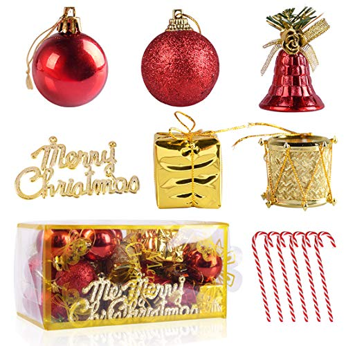 44-Pack Shatterproof Christmas Tree Decorations Ornaments Sets Gold Red Ball Jingle Bell Gift Boxes Candy Cane Xmas Tree Hanging Pendant Festival Home Party Decors - Gold Ornament Bell