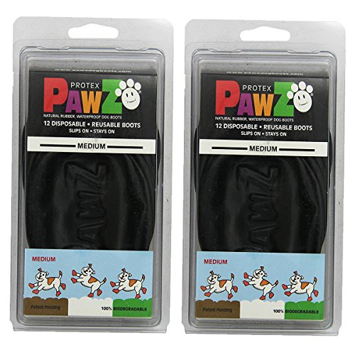 Pawz Water-Proof Dog Boot, Black, Medium (2 Pack) (Rubber Boots Dog)