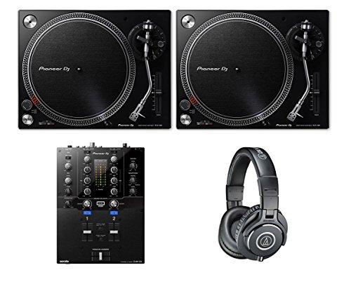 2x Pioneer PLX-500 Black DJ Turntable + DJM-S3 DJ Mixer + ATH-M40X Headphones