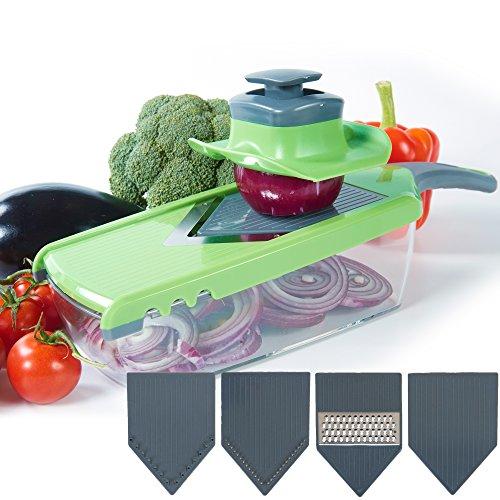 1 Piece Slicers - Upgraded | Mandoline V-Slicer - 6 Pieces Set - Food Slicer - Julienne Slicer - Vegetable Slicer - Potato slicer With Adjustable Blade Thickness And Food Container