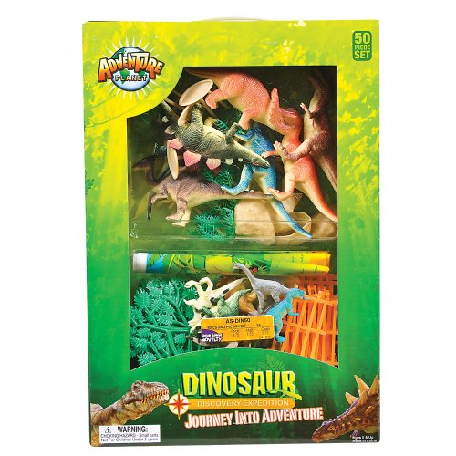 Adventure Planet Discovery Expedition Plastic Dinosaur Box Set, 50-Piece