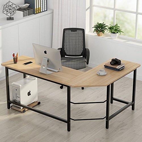 ba33f83c4dd1 Modern L-Shaped Desk, LITTLE TREE Corner Computer Desk PC Latop Study Table  Workstation Home Office Wood & Metal (Teak)