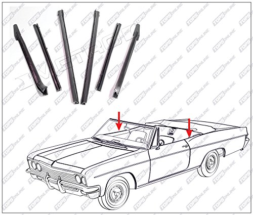 1966 thru 1970 Cadillac Deville & Eldorado--6 Piece Convertible Top Frame Weather Seals Kit