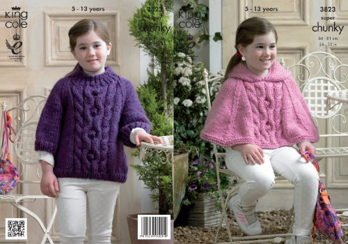 Hooded Sweater Pattern (King Cole Girls Super Chunky Knitting Pattern Cable Knit Hooded Cape & Sweater)