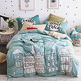 TheFit Paisley Bedding for Adult U117 Love Fashion Paris Duvet Cover Set 100% Cotton, Queen Set, 4 Pieces