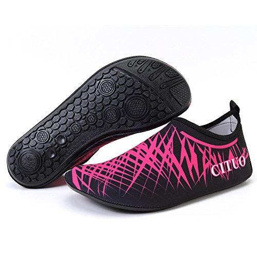 FCKEE Wasser Schuhe Aqua Schuhe Aqua Socken Slip-On Barfuß Leicht Quickdry Durable Sole Mutifunktional Für Strand Schwimmen Surfen Yoga Frauen Kind L.rose