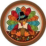 Cute Turkey Thanksgiving Dessert Plates, 8ct