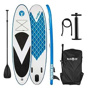 Klarfit Spreestar 320 Tabla de pie hinchable • Paddleboard Paddle surf • Tabla SUP 320x12x81cm • Bomba de aire • Pala • Correa de seguridad • Mochila • Kit reparación • Azul blanco