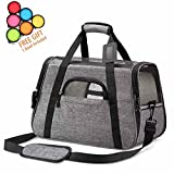 ICOSPET Airline Approved Pet Carrier - Soft Sided Collapsible Pet Travel Bag Mesh Windows Soft Dog Bed Small Dogs Cats – Fits Under Airplane Seat