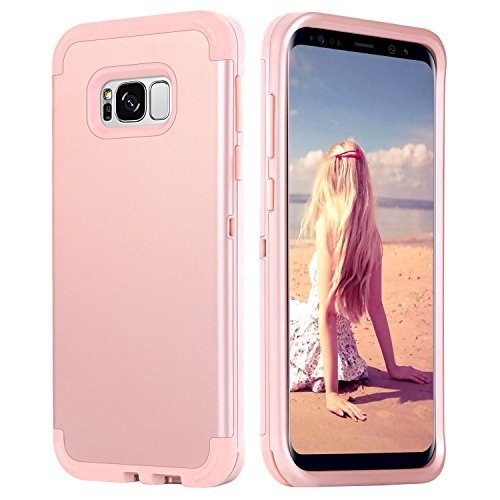 Galaxy S8 Case, Case for Samsung Galaxy S8, DUEDUE 3 in 1 Shockproof Heavy Duty Hybrid Hard PC Soft Silicone Rubber Rugged Bumper Full-body Protective Cover Case for Samsung Galaxy S8, Rose Gold Silicon Rubber Cover