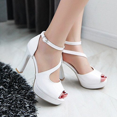 Platform Peep White Dress Shoes Heel Foot High Womens Charm Toe Sandals ZqESxTww
