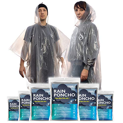 Foxelli Disposable Rain Ponchos (Family 6 Pack) – Emergency Rain Ponchos with Hood for Adults, Women & Men, Heavy Duty, Lightweight, Waterproof for Travel & Camping