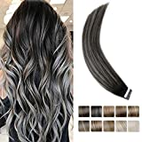 LaaVoo Tape in Extensions 100% Remy Human Hair Extensions Balayage Ombre Color Off Black 1b to Grey Silver Hair Extensions 18' 20pcs/50g