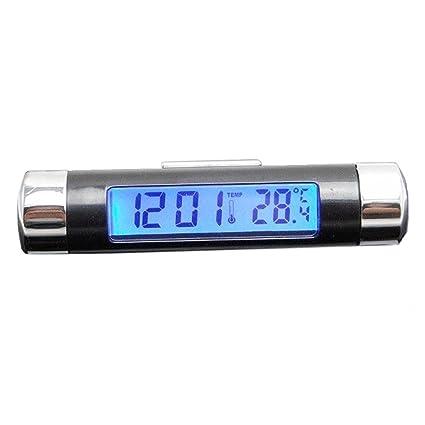 Reloj electrónico de Coche Rueting, Pantalla LCD 2 en 1 Mini Reloj Digital para Coche