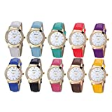 Inkach® 10 Pack Women Fashion Rhinstone Inlaid Analog Quartz Dress Wrist Watch (10 pcs)