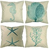 "Luxbon Set of 4 Pcs Nautical Themed Seaside Durable Cotton Linen Light Green Seahorse Coral Starfish Seaweed Throw Pillow Case Home Decor Cushion Cover 18""x18"" 45x45cm"