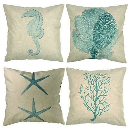 Luxbon Set of 4 Pcs Nautical Decor Seaside Themed Cotton Linen Light Green Seahorse Coral Starfish Seaweed Throw Pillow Cases Sofa Couch Chair Decorative Cushion Covers (Nautical Themed Decor)